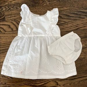 White eyelet flutter sleeve dress and bloomers